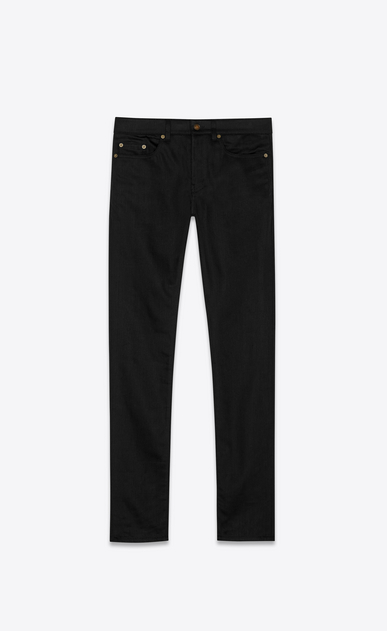 SAINT LAURENT Skinny fit Woman original low waisted skinny jean in raw black stretch denim a_V4