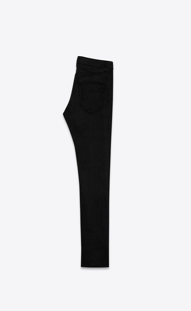 SAINT LAURENT Skinny fit Woman original low waisted skinny jean in raw black stretch denim b_V4