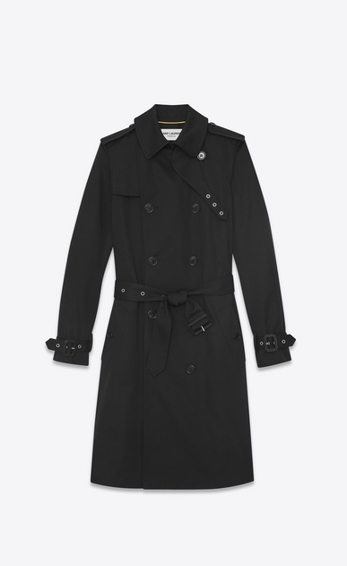 SAINT LAURENT Cappotti Donna trench doppiopetto con cintura in gabardine nero a_V4