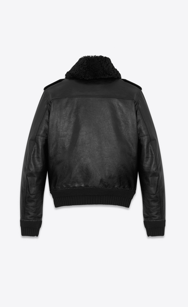 SAINT LAURENT Leather jacket Man bomber jacket with pins in black leather and shearling b_V4