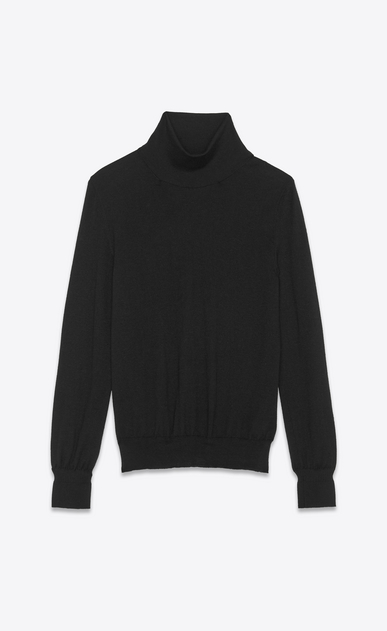 roll neck sweater in a black fine gauge cashmere