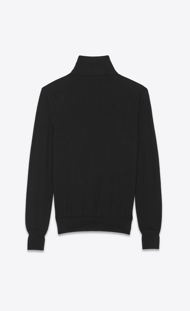 SAINT LAURENT Cashmere Tops Man roll neck sweater in a black fine gauge cashmere b_V4