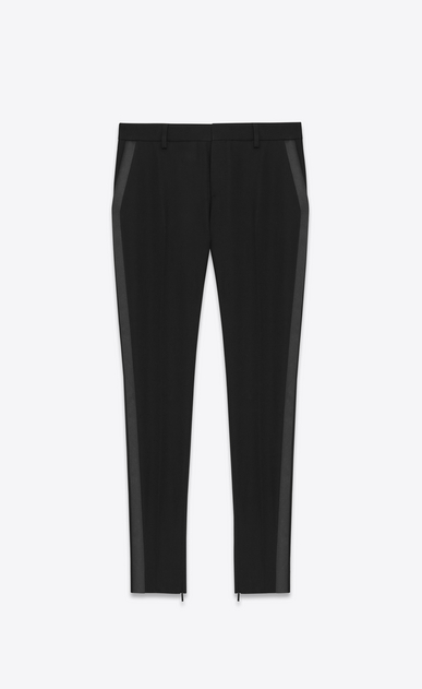 SAINT LAURENT Classic Pant Woman iconic le smoking skinny trouser in black textured virgin wool a_V4