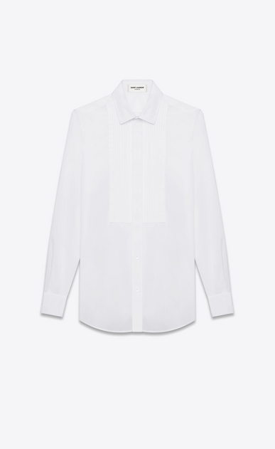 SAINT LAURENT Classic Shirts Woman evening shirt in white cotton poplin a_V4