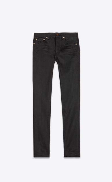 SAINT LAURENT Skinny fit Woman mid-rise skinny jeans in black stretch denim a_V4