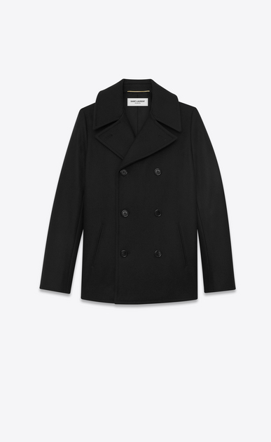 SAINT LAURENT Coats Woman double breasted caban jacket in black wool gabardine a_V4