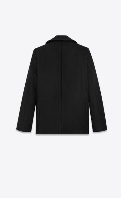 SAINT LAURENT Coats Woman double breasted caban jacket in black wool gabardine b_V4