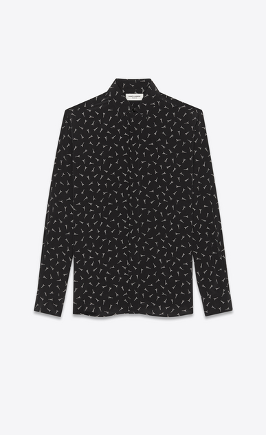 SAINT LAURENT Classic Shirts Man Yves collar shirt with Eiffel Tower print in black crepe de chine a_V4
