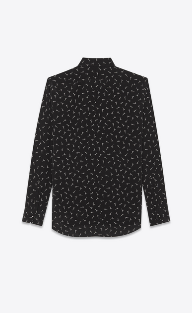 SAINT LAURENT Classic Shirts Man Yves collar shirt with Eiffel Tower print in black crepe de chine b_V4