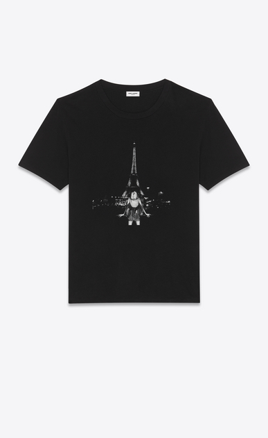 SAINT LAURENT T-Shirt and Jersey Woman Boyfriend Eiffel Tower T-shirt in black jersey a_V4