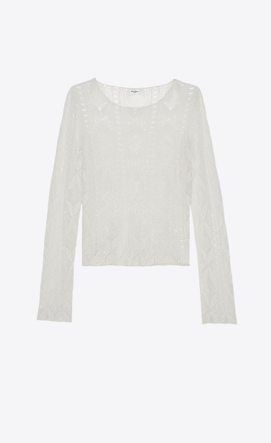 SAINT LAURENT Tops and Blouses Woman Sweater in ivory Victorian lace a_V4