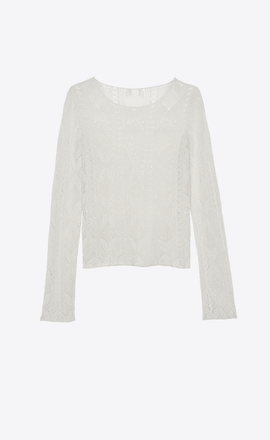 SAINT LAURENT Tops and Blouses Woman Sweater in ivory Victorian lace b_V4