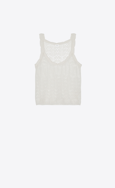 SAINT LAURENT Knitwear Tops Woman Tank top in a Ivory lacy openwork knit a_V4