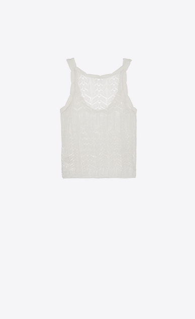 SAINT LAURENT Knitwear Tops Woman Tank top in a Ivory lacy openwork knit b_V4