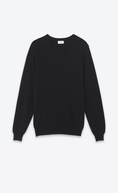 SAINT LAURENT Cashmere Tops Man saint laurent crew neck sweater in black cashmere a_V4