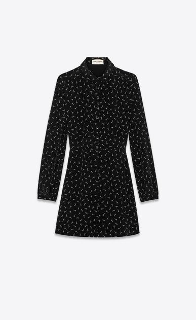 SAINT LAURENT Dresses Woman Dress with Eiffel Tower print in black crepe de chine a_V4