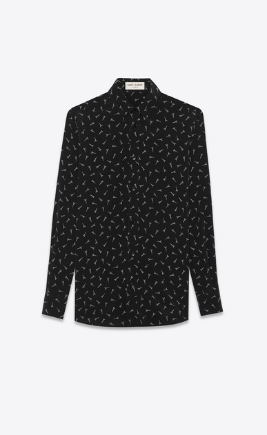 SAINT LAURENT Tops and Blouses Woman Shirt with Eiffel Tower print in black crepe de chine a_V4