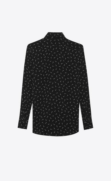 SAINT LAURENT Tops and Blouses Woman Shirt with Eiffel Tower print in black crepe de chine b_V4