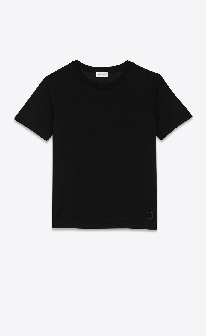 SAINT LAURENT SHORT SLEEVE FITTED T-SHIRT IN BLACK COTTON JERSEY