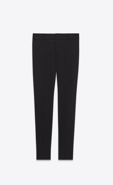SAINT LAURENT Classic Pant Woman mid waist trouser in black stretch virgin wool twill a_V4