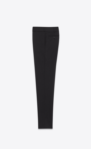 SAINT LAURENT Classic Pant Woman mid waist trouser in black stretch virgin wool twill b_V4