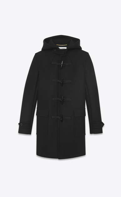 SAINT LAURENT Coats Woman duffle coat in black wool a_V4