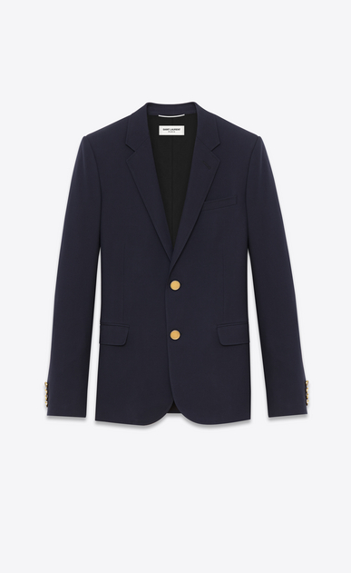 SAINT LAURENT Blazer Jacket Man classic cropped blazer in navy blue wool gabardine a_V4
