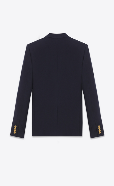 SAINT LAURENT Blazer Jacket Man classic cropped blazer in navy blue wool gabardine b_V4