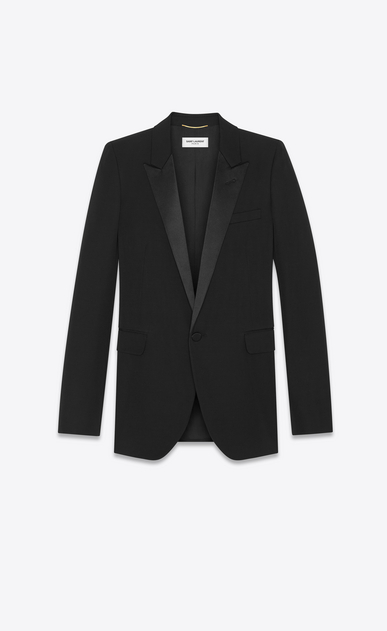 SAINT LAURENT Blazer Jacket Woman iconic le smoking single-breasted tube jacket in black grain de poudre a_V4