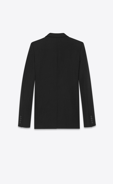 SAINT LAURENT Blazer Jacket Woman iconic le smoking single-breasted tube jacket in black grain de poudre b_V4