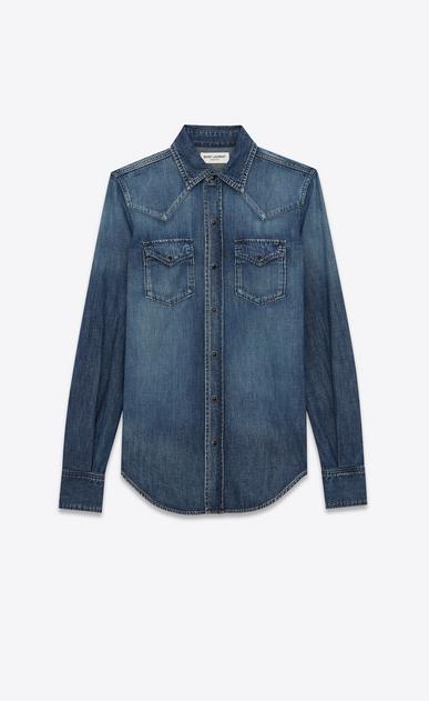 SAINT LAURENT Denim shirts Damen western-hemd mit abgesteppten taschen aus blauer baumwolle und leinen in schmutziger optik a_V4