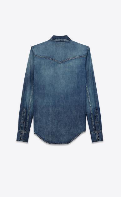 SAINT LAURENT Denim shirts Damen western-hemd mit abgesteppten taschen aus blauer baumwolle und leinen in schmutziger optik b_V4