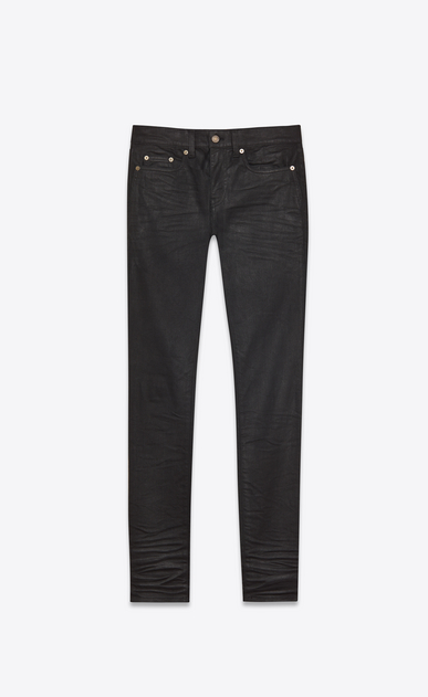 low waisted skinny jeans in coated black stretch denim