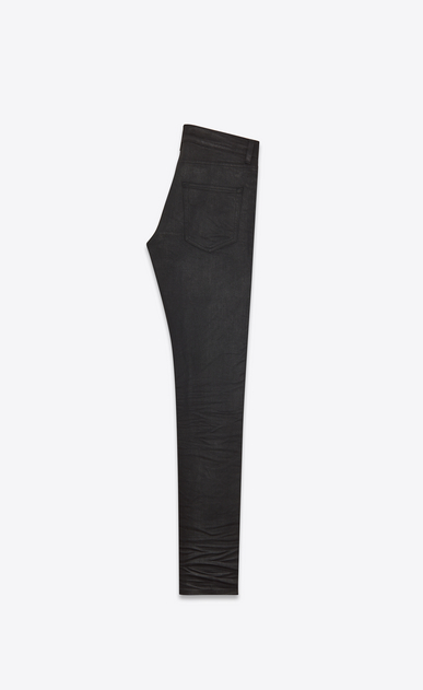 SAINT LAURENT Skinny fit Man low waisted skinny jeans in coated black stretch denim b_V4