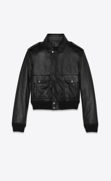 SAINT LAURENT Leather jacket Woman bomber jacket in leather and shearling b_V4