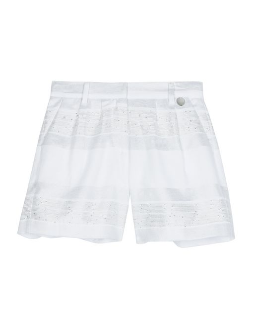 WHITE AND SILVER BERMUDA SHORTS   - Lanvin