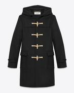 SAINT LAURENT Coats U Classic Duffle Coat in Black Wool f