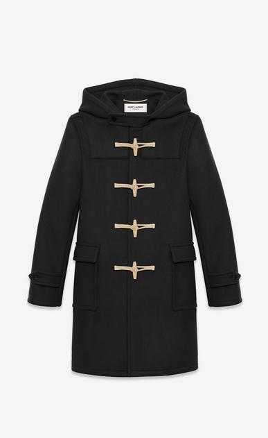 SAINT LAURENT Coats U Classic Duffle Coat in Black Wool a_V4