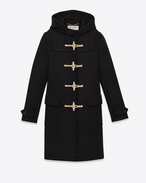 SAINT LAURENT Coats D CLASSIC DUFFLE COAT IN Black WOOL f