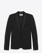 SAINT LAURENT Tuxedo Jacket D ICONIC LE SMOKING JACKET single breasted IN BLACK grain de poudre wool f