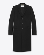 SAINT LAURENT Coats D CLASSIC CHESTERFIELD COAT IN BLACK WOOL f
