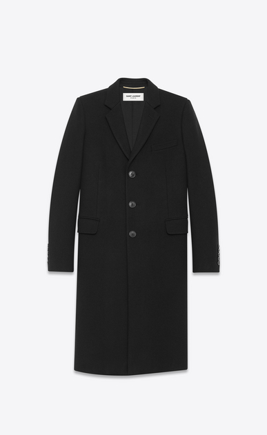 SAINT LAURENT Coats D CLASSIC CHESTERFIELD COAT IN BLACK WOOL a_V4