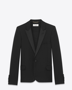 SAINT LAURENT Tuxedo Jacket D Iconic Le Smoking Cropped Jacket in Black Grain de Poudre Textured Wool f