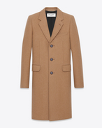 SAINT LAURENT Coats U Classic Chesterfield Coat in Natural compact CAMEL Hair f