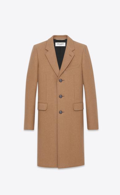 SAINT LAURENT Coats U Classic Chesterfield Coat in Natural compact CAMEL Hair a_V4