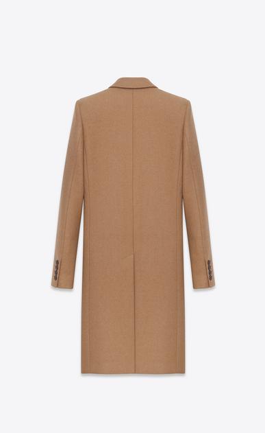 SAINT LAURENT Coats U Classic Chesterfield Coat in Natural compact CAMEL Hair b_V4