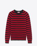 SAINT LAURENT Knitwear Tops U Crewneck Sweater in Black and Red Striped Shetland Wool f