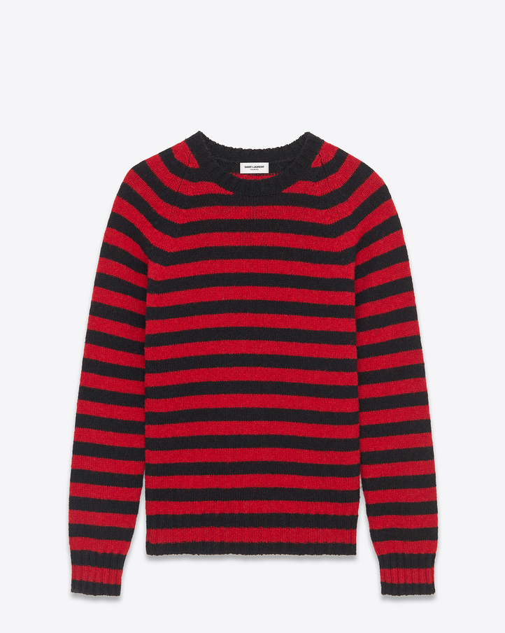 Saint Laurent Crewneck Sweater In Black And Red Striped