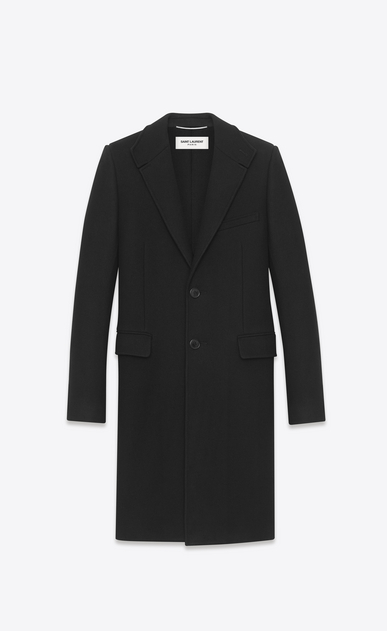 SAINT LAURENT Coats U Classic Stand-Up Collar Chesterfield Coat in Black Cashmere Mélange a_V4