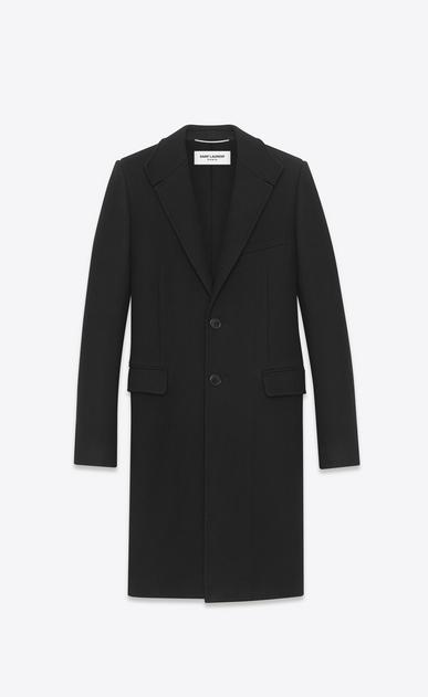SAINT LAURENT Mäntel U Klassischer Chesterfield-Mantel mit Stehkragen aus schwarzem Kaschmirmischgewebe a_V4